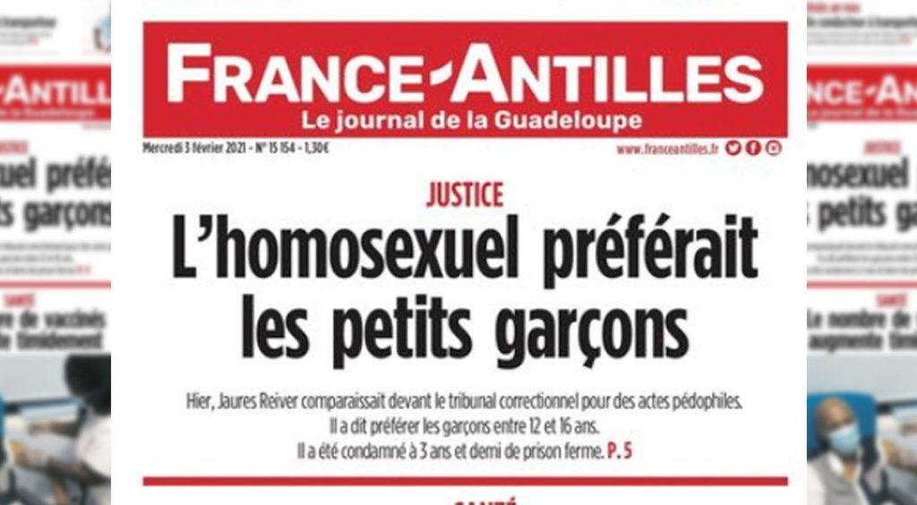 Une du journal France-Antilles